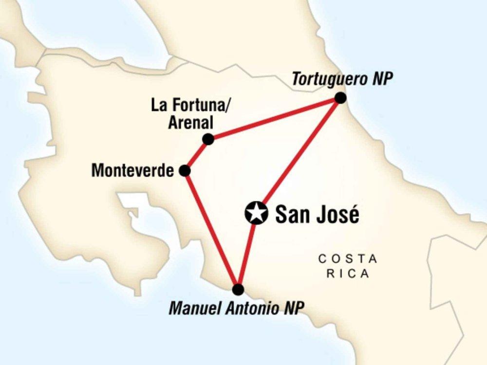 130G35021 Costa Rica Entdeckertour Karte