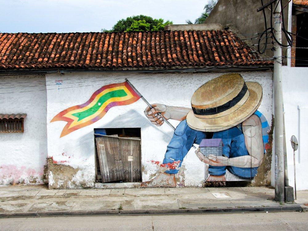 Häuserwand in Cartagena