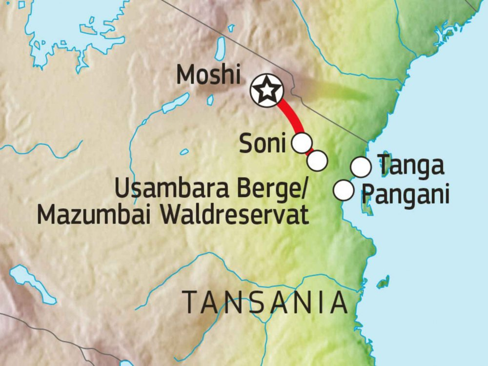 142Y22008 Malerische Usambara Berge Karte