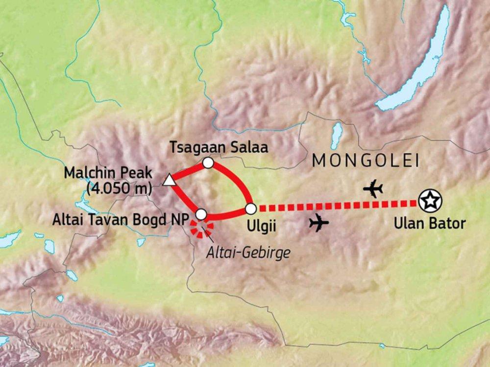 149M41000 Einsames Wildnistrekking in der Westmongolei Karte