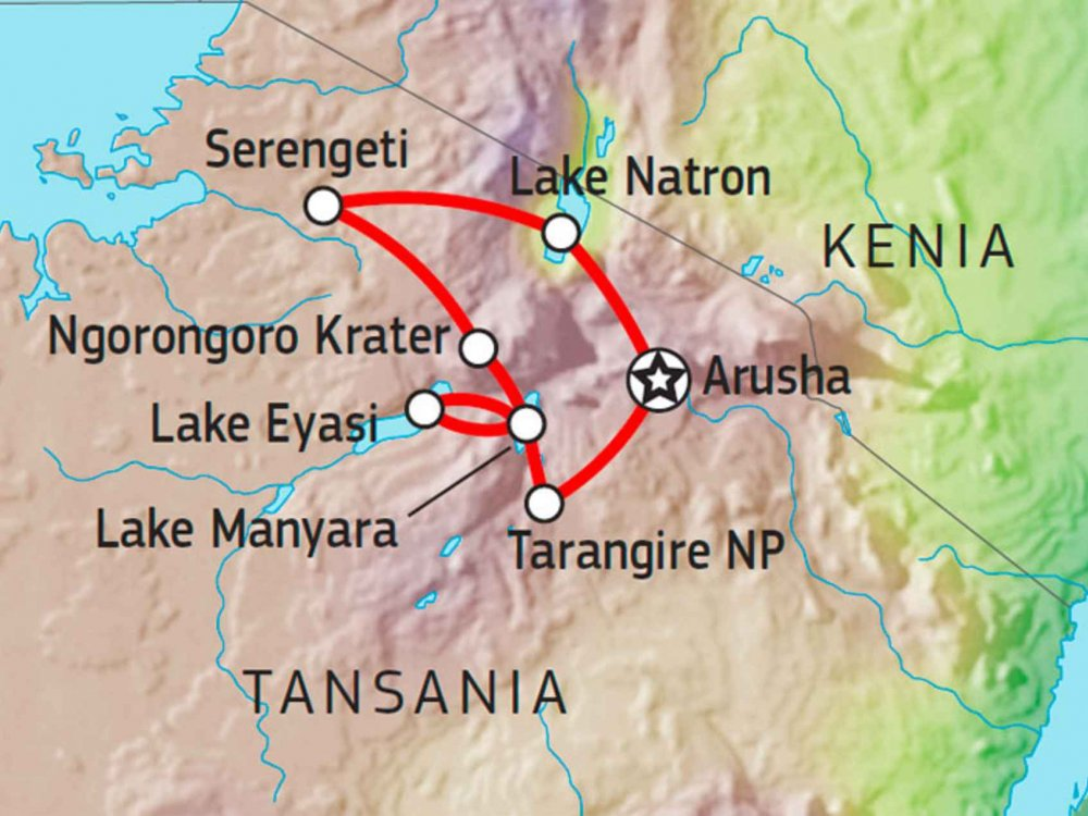 140T00001 Tansania Aktiv Safari Karte