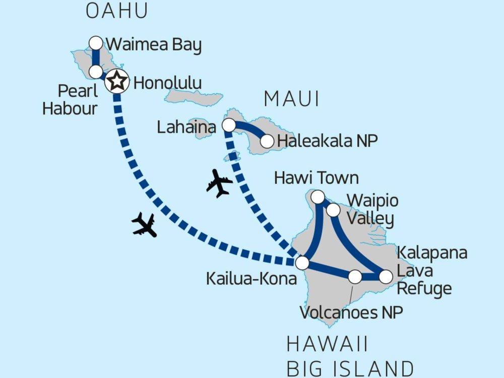 139G20030 Hawaii Inselhopping - Oahu, Big Island & Maui Karte