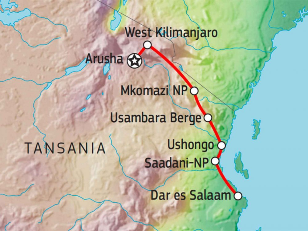 142Y10019 Vom Kilimandscharo zur Ostküste Tansanias Karte