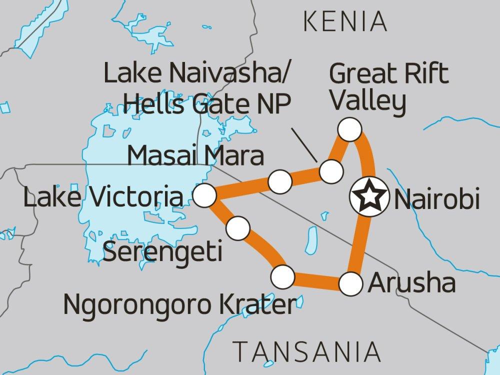 Ostafrika Overland-Safari Karte
