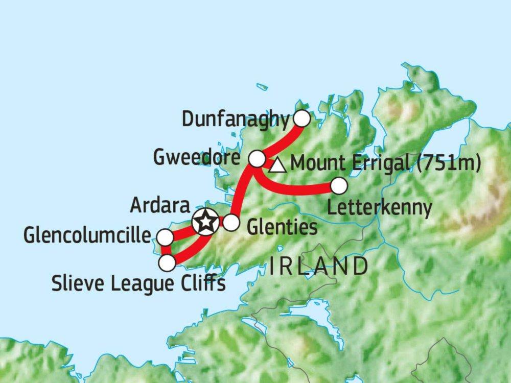 123W10009 Donegal Wanderreise Karte