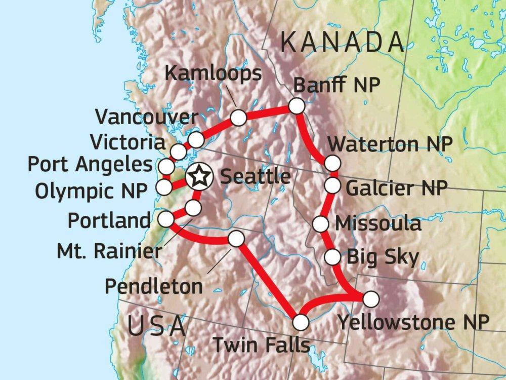 187R10007 Naturabenteuer Nordwesten USA & Westkanada Karte