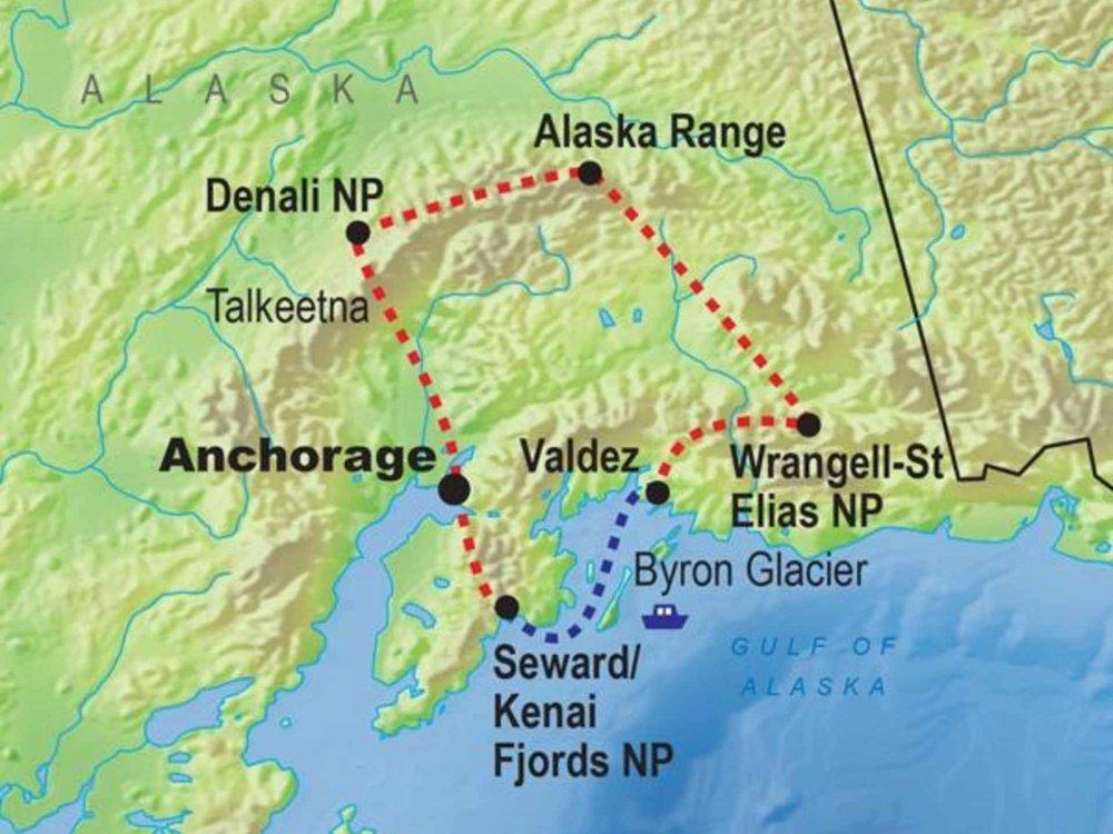 139G10063 Highlights von Alaska Karte