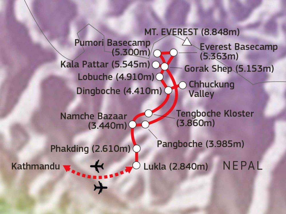 136Y10155 Trekking zum Mount Everest Basislager Karte