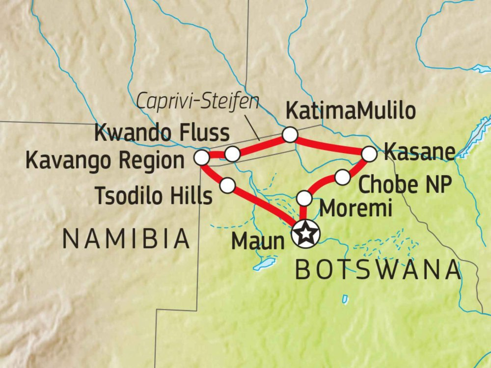 108Y30003 4x4 Abenteuer Botswana & Caprivi Karte