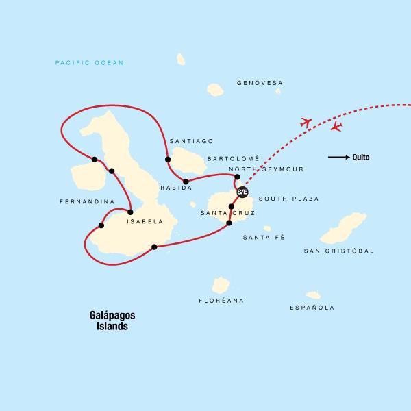 Galapagos Kreuzfahrt Karte - Westliche & zentrale Inseln an Bord der Eden