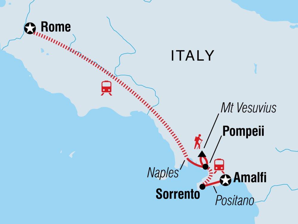 Von Rom zur Amalfiküste Karte