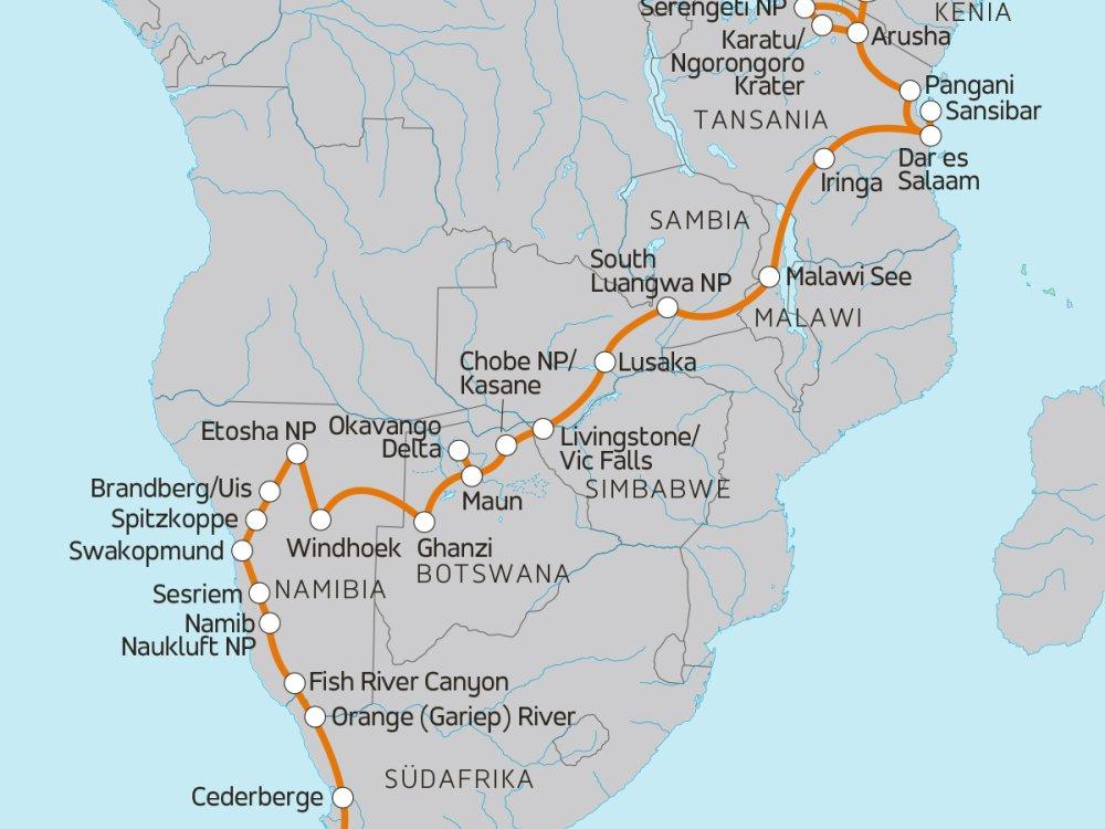 Camping Abenteuer von Tansania nach Südafrika Karte