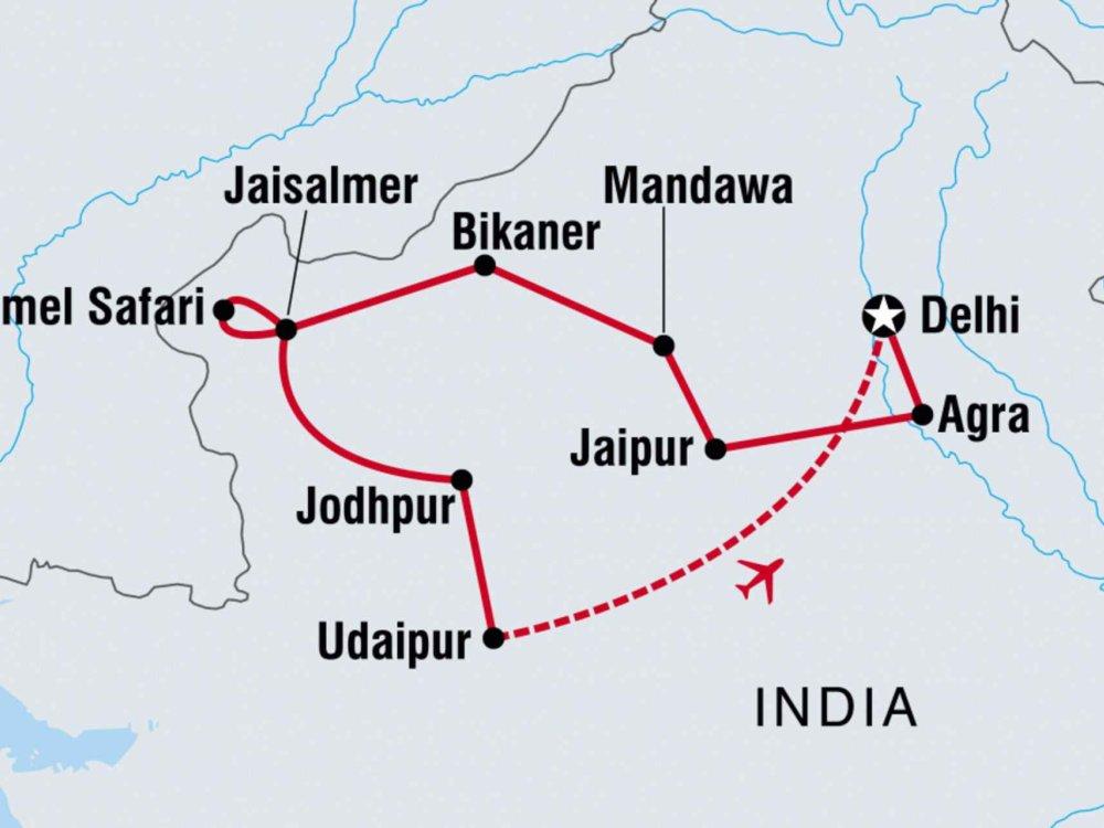 122Y20313 Erlebnisreise Rajasthan Karte