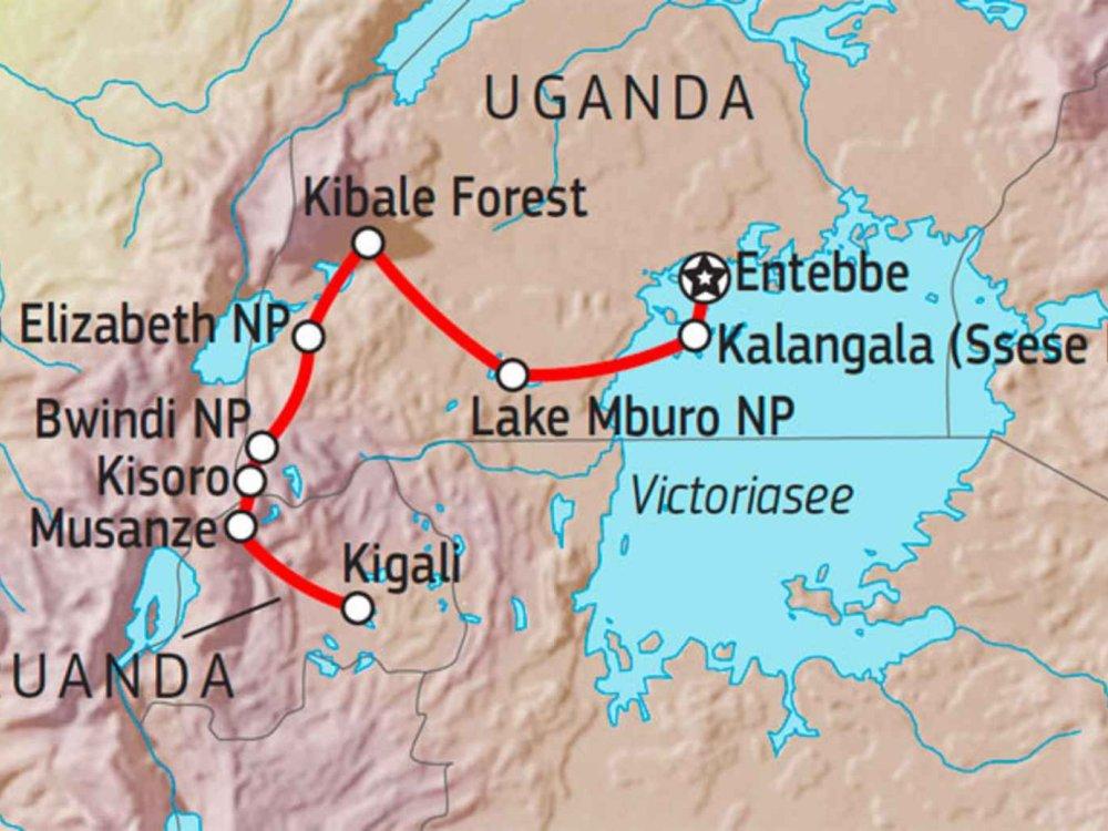 196Y40010 Uganda & Ruanda aktiv erleben Karte