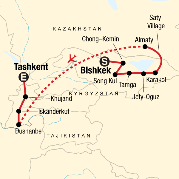Karte Entdeckertour Kirgisistan, Kasachstan und Tadschikistan