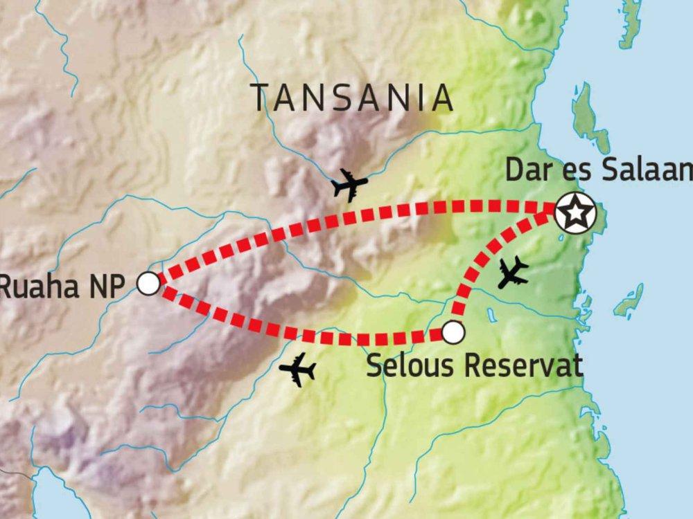 143Y10009 Selous & Ruaha - Ungezähmtes Afrika Karte