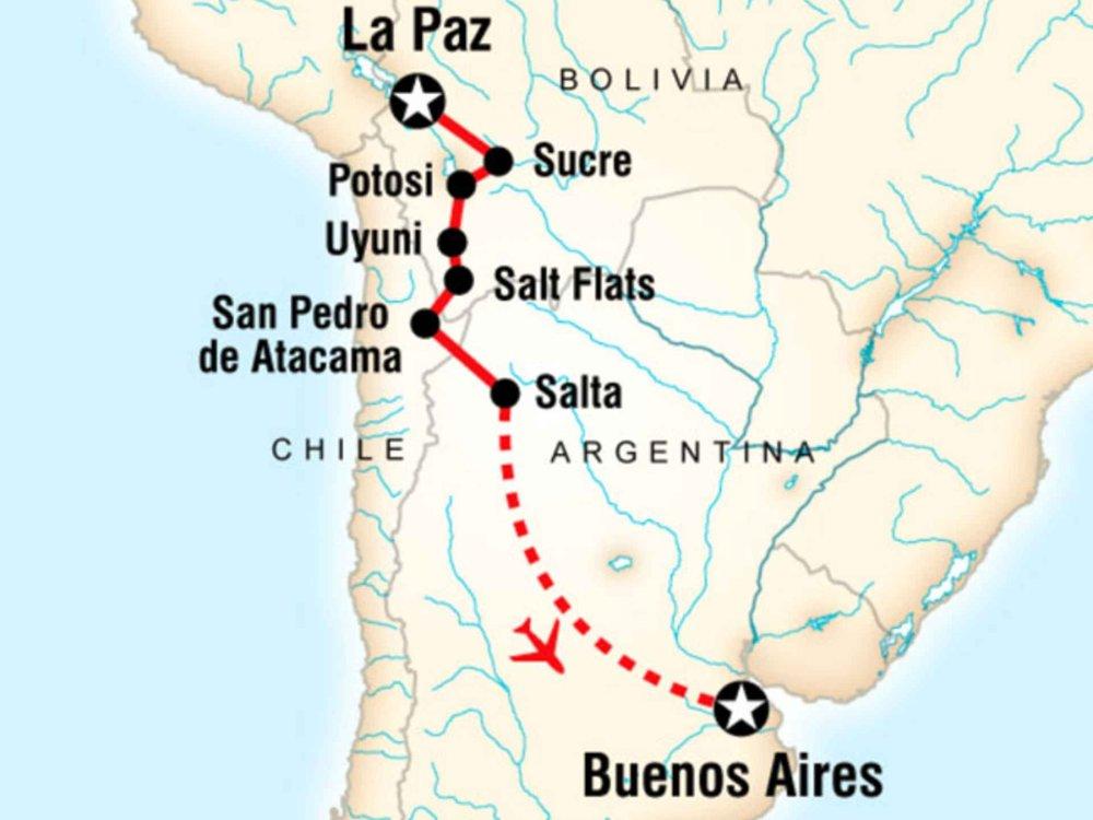 130Y41021 Abenteuer La Paz nach Buenos Aires Karte