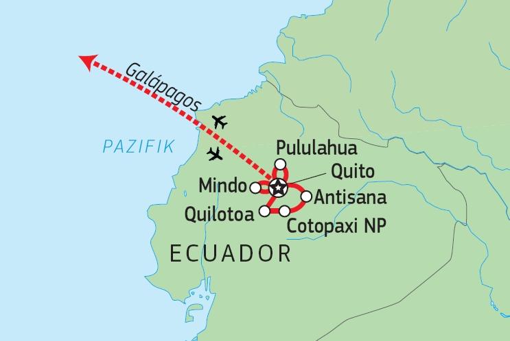 198Y30021 Vielfalt Ecuadors mit Galapagos Kreuzfahrt unter Segeln Karte