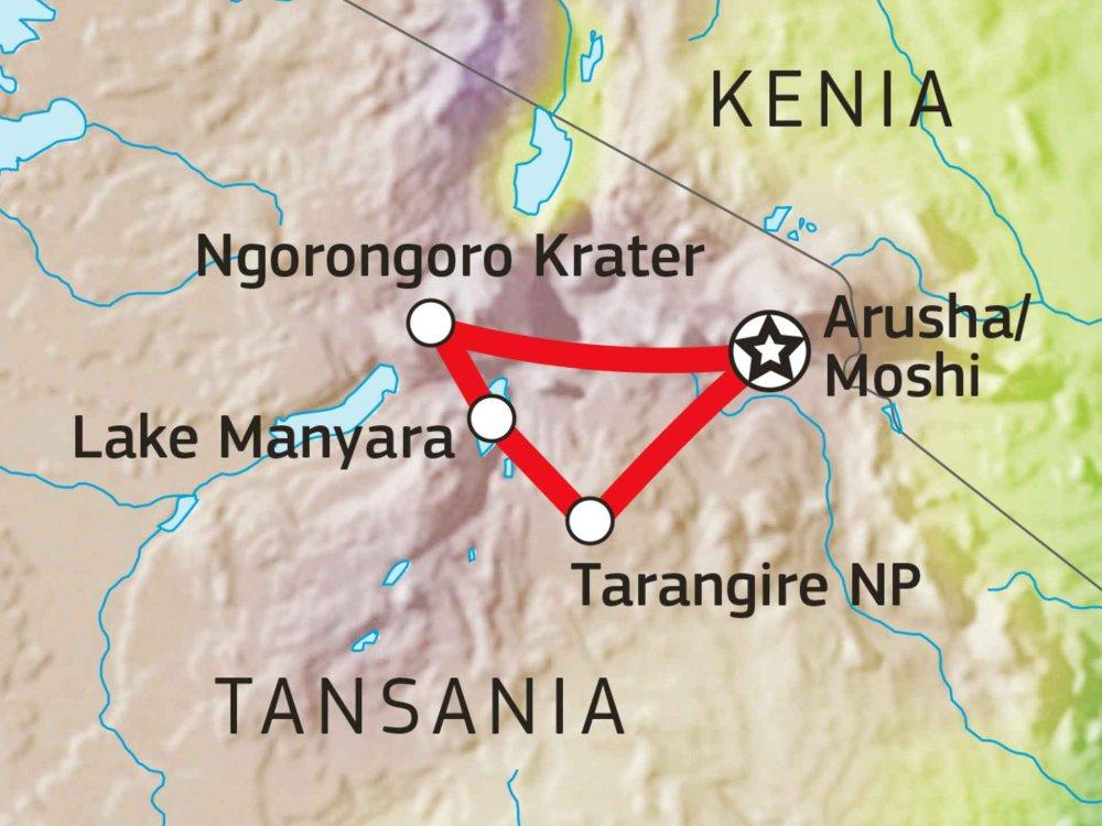 142Y10011 Tansania Abenteuer-Safari mit Komfort II Karte