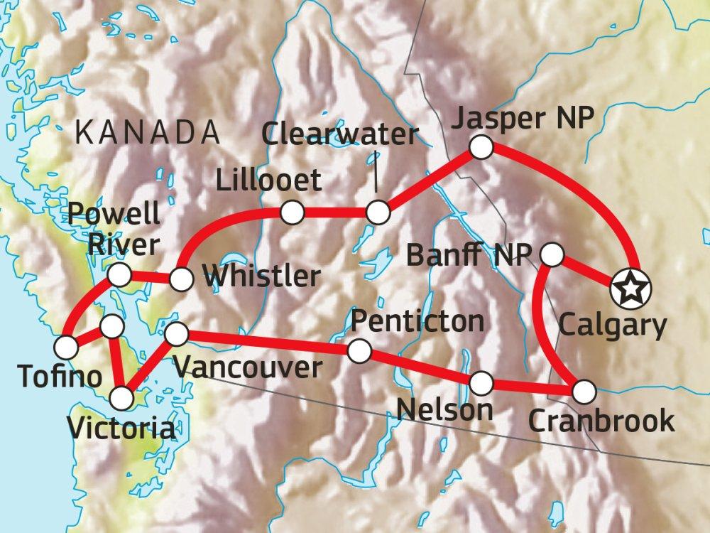 Westkanada intensiv mit dem Mietwagen erkunden Karte