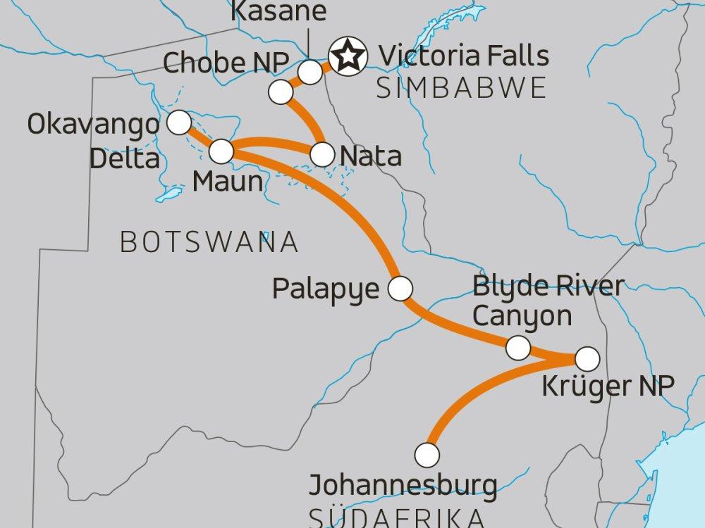 Chobe Okavango Krüger Karte