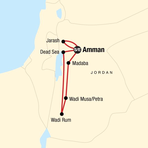 Jordanien Erlebnisreise Karte