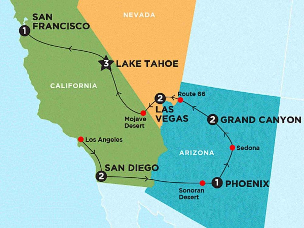 174Y10098 Winterabenteuer Kalifornien & Nevada Karte