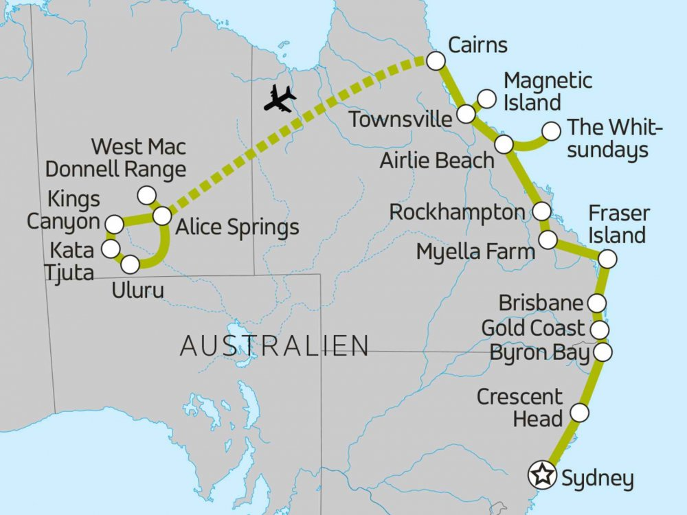 117Y10060 Queensland, Whitsundays & Ayers Rock Karte