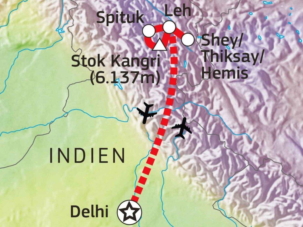 164Y10004 Markha Valley Trekking & Stok Kangri Besteigung (6.137m) Karte