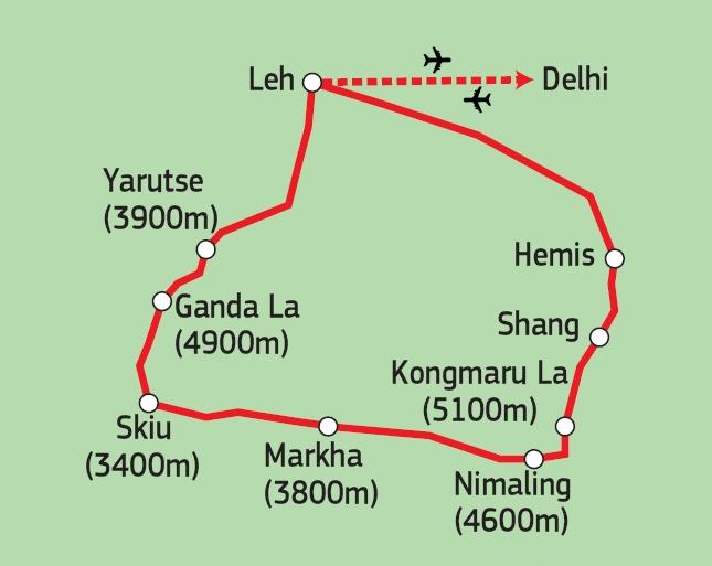164Y10003 Markha Valley Trekking Karte