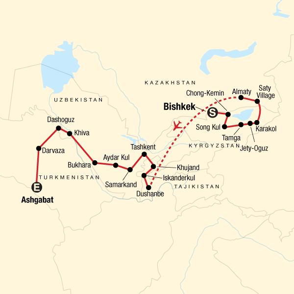 Die Fünf Stans der Seidenstraße Karte