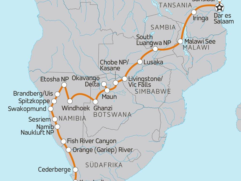 Quer durch Afrika - Von Sansibar nach Kapstadt Karte