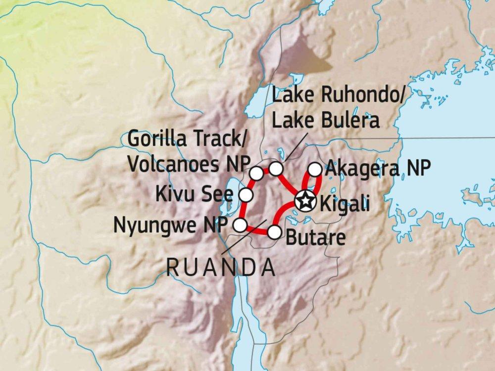 196Y10200 Höhepunkte von Ruanda Karte