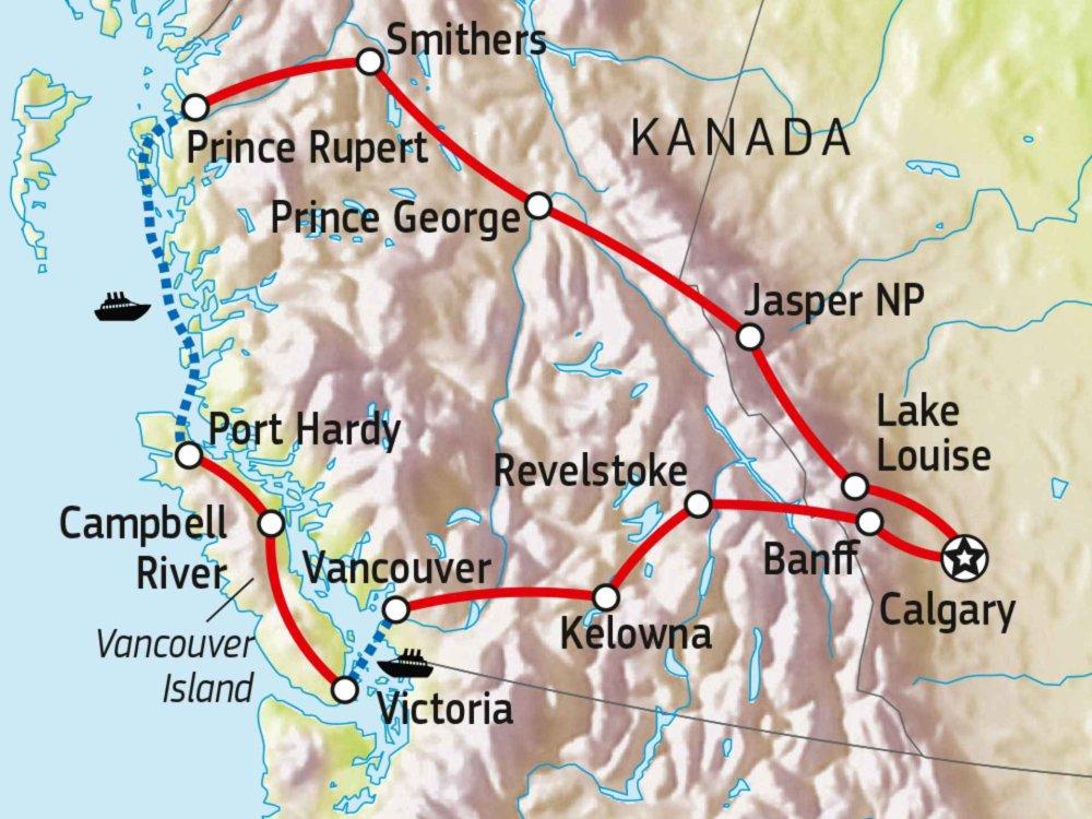 Roadtrip durch Westkanada mit Inside Passage Karte