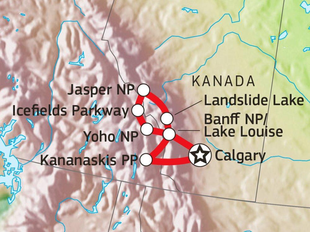 Wanderabenteuer in der kanadischen Wildnis Karte