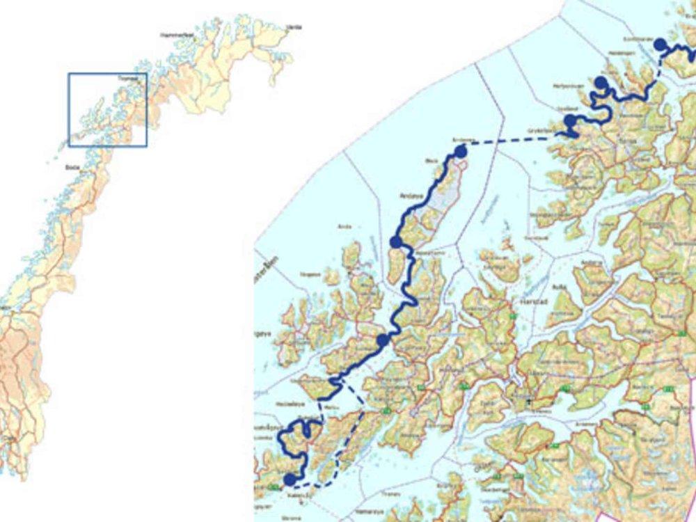 Nord-Norwegen Radreise - Senja, Vesteralen und Lofoten Karte