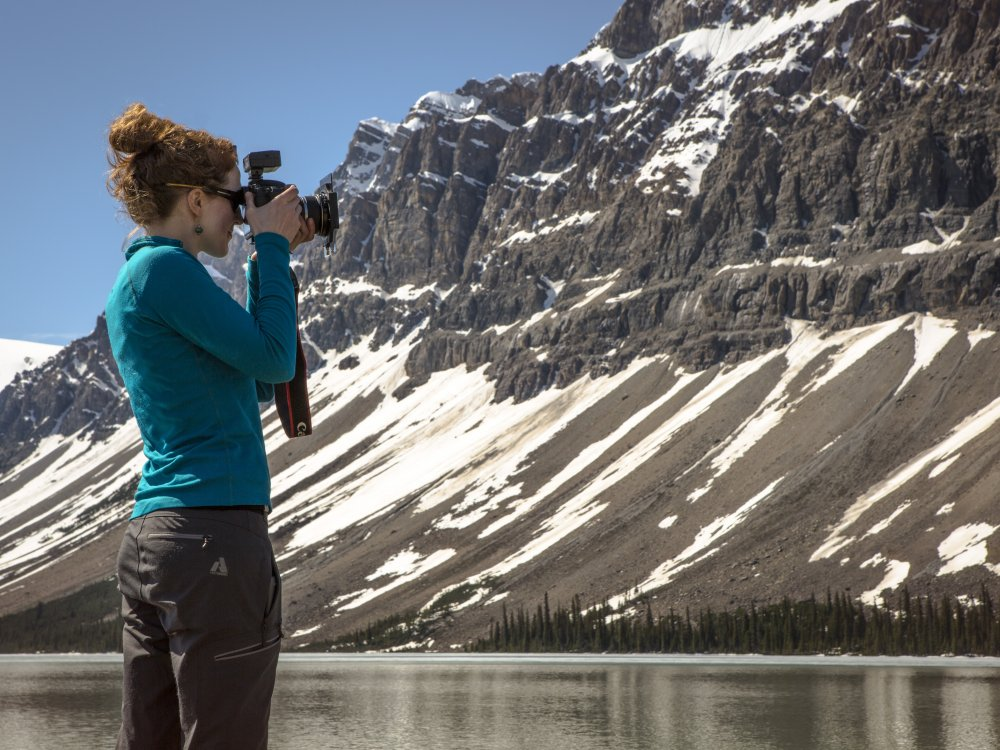Fotograf am Bow Lake Icefields Parkway