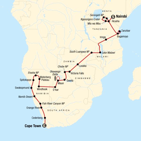 Overland Tour von Nairobi nach Kapstadt Karte