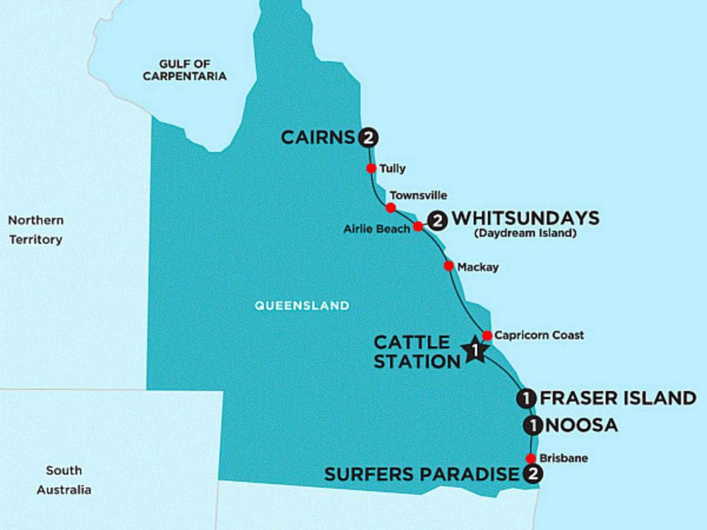 174Y10007R Australiens Ostküste - Cairns nach Surfers Paradise Karte
