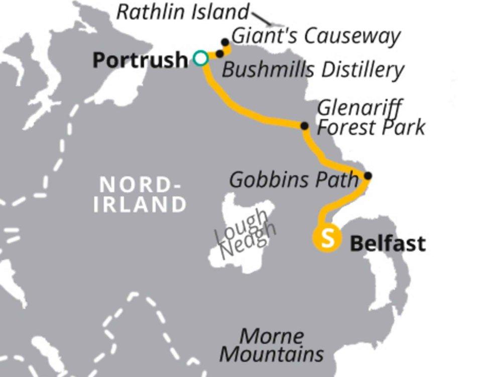 123H10020 Natur- und Kulturreise durch Nordirland Karte