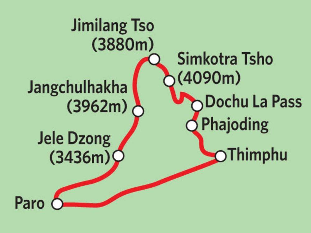 Bhutan - Druk Path Trek Karte
