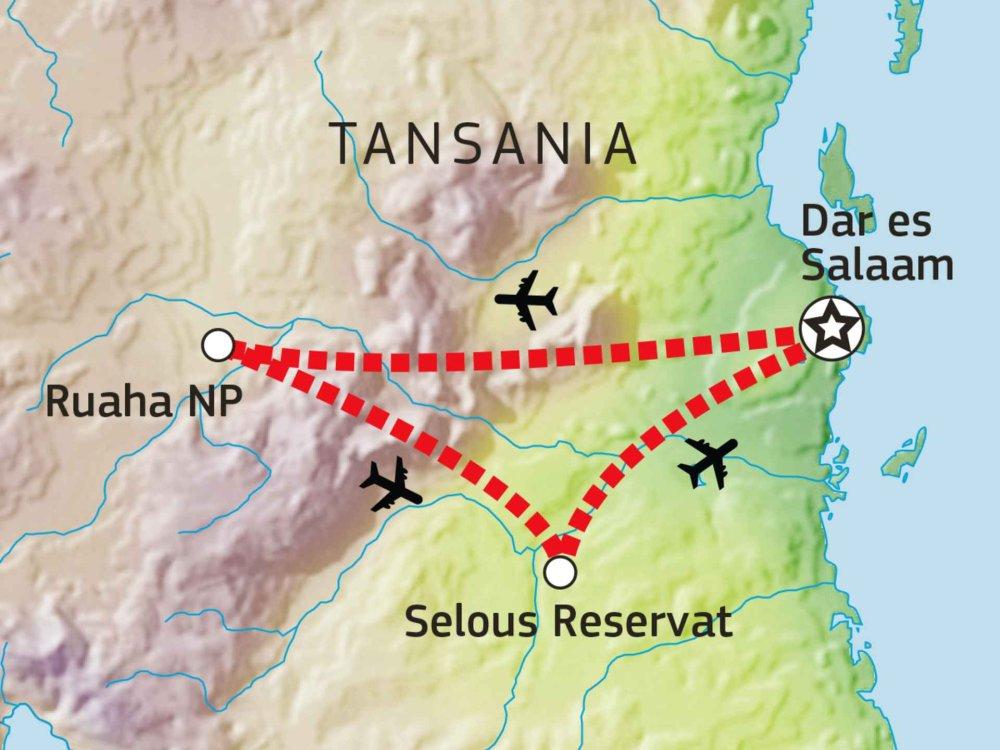 143Y10004 Ruaha & Selous Safari Karte