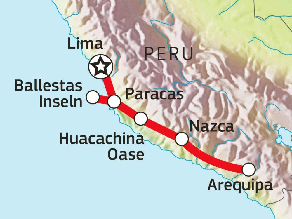 188P00027 Peru erfahren - Von Lima nach Arequipa Karte
