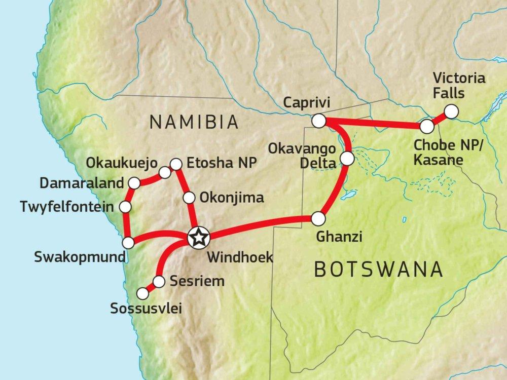 106Y21009 Namibia & Botswana Abenteuer-Safari Karte