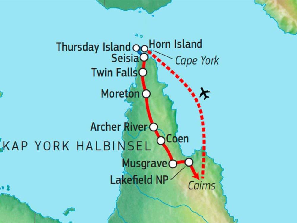 127Y30010 Cape York Safari Karte