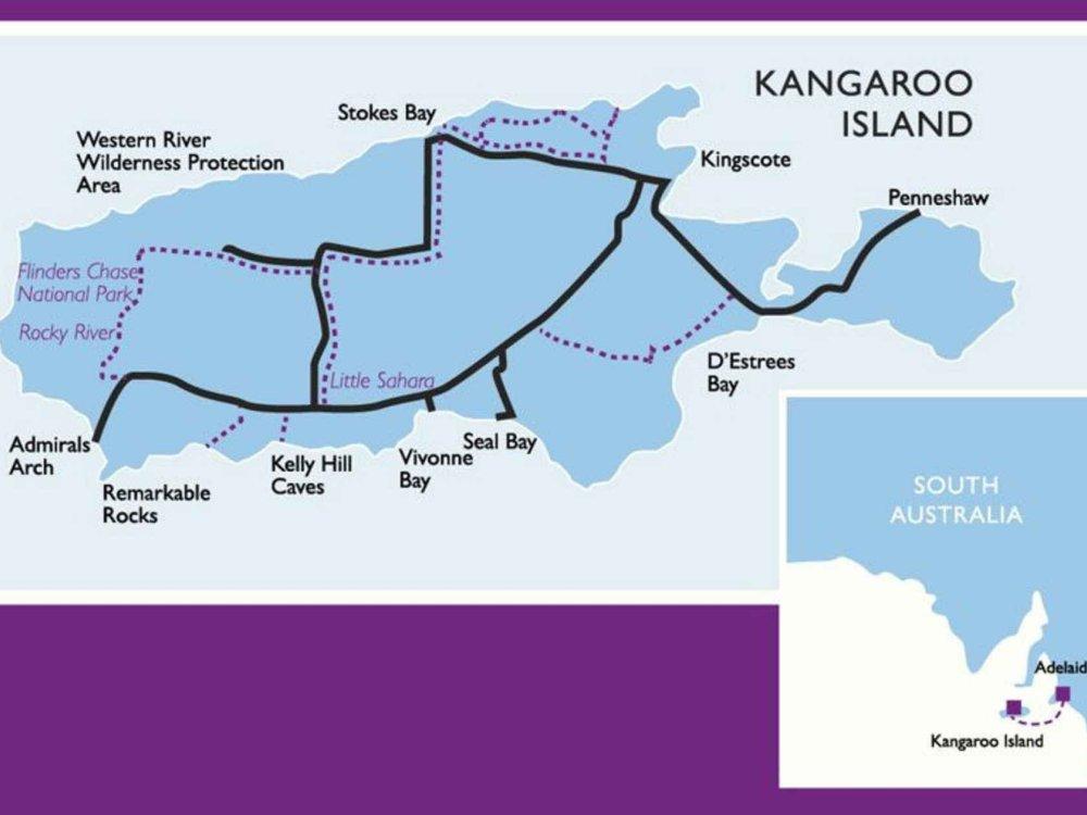 102A10036 Kangaroo Island Wildlife Adventure Karte