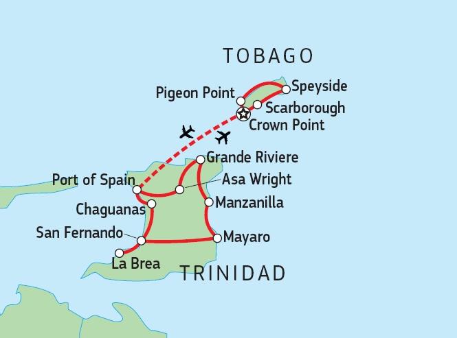 198Y30038 Highlights von Trinidad & Tobago Karte