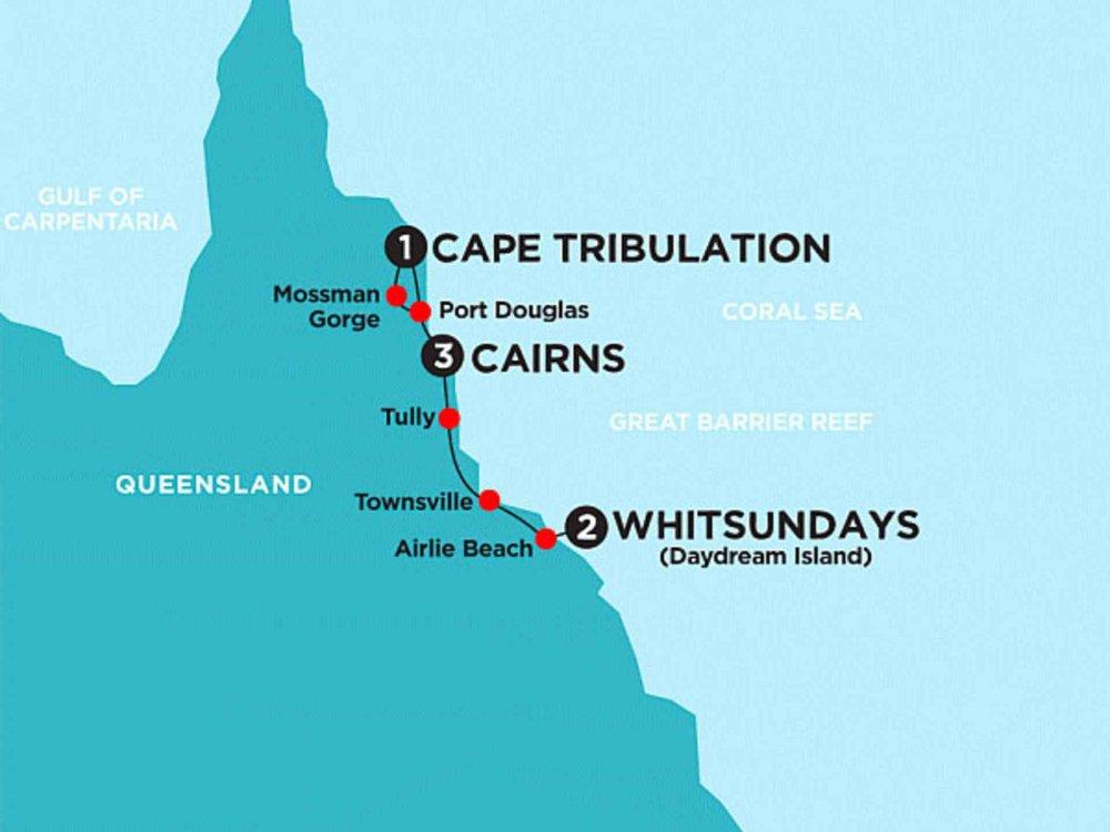 174Y10086 Inseln, Regenwald & Whitsundays Karte