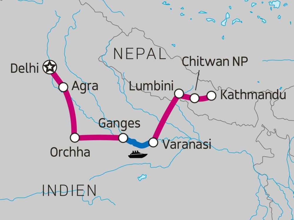 Von Delhi nach Kathmandu Karte