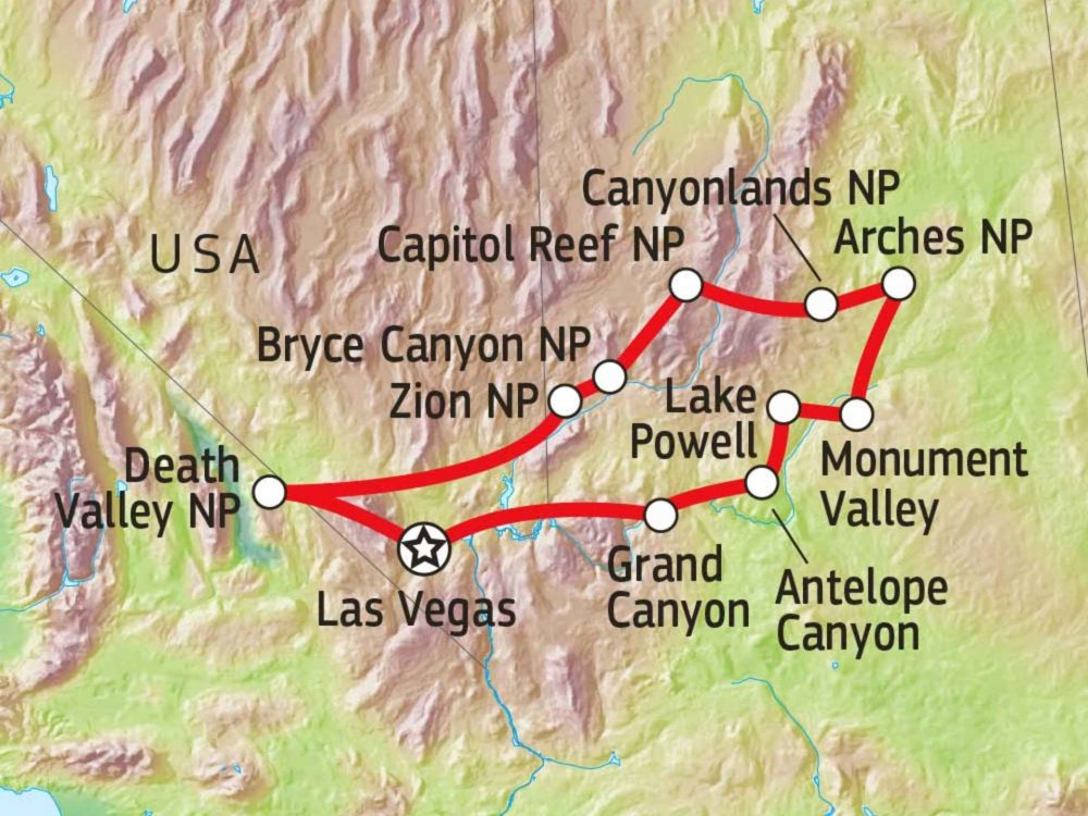 USA Wanderreise im imposanten Südwesten Karte